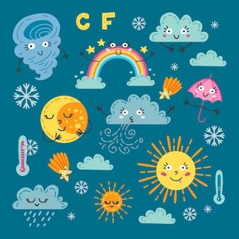 Lindo juego de clima. un pronóstico de símbolos de meteorología.