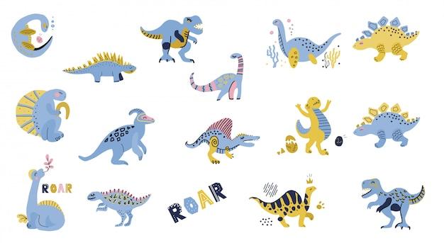 Lindo juego de dinosaurios. colección dibujada a mano. doodle personajes de dinosaurios de dibujos animados para carteles de guardería, tarjetas, camisetas para niños.