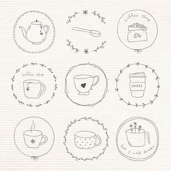 Lindo juego de pegatinas de diario de doodle de café