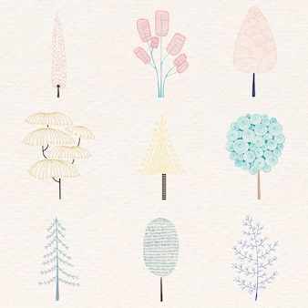 Lindo juego de pegatinas de pino pastel