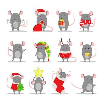 Lindo juego de ratas navideñas. carácter animal sosteniendo cosas festivas. 2020 año de la rata. ilustración con estilo