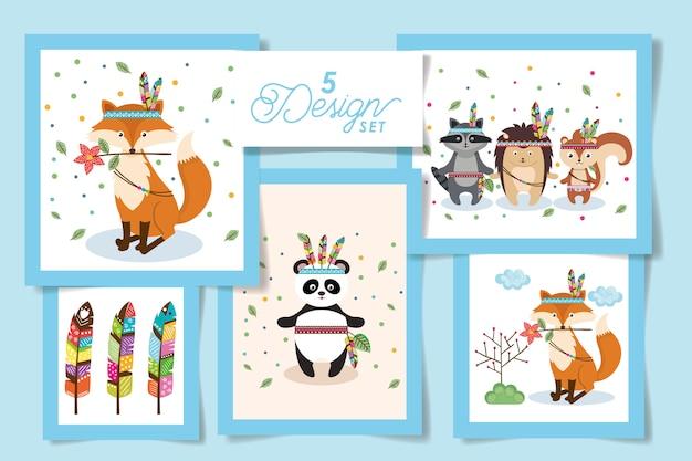 Lindo juego de tarjetas de animales indios
