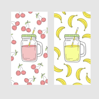 Lindo juego de tarjetas de verano brillante con bebidas cereza y plátano