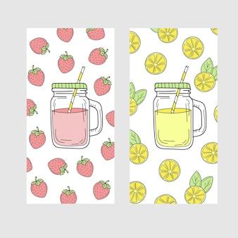 Lindo juego de tarjetas de verano brillante con bebidas de limón y fresa