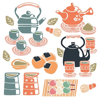 Lindo juego de té japonés pintado a mano