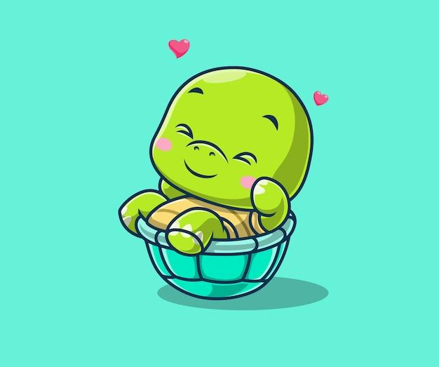 Lindo juego de tortuga girando con su ilustración de icono de conchas. personaje de dibujos animados de la mascota de tortuga.