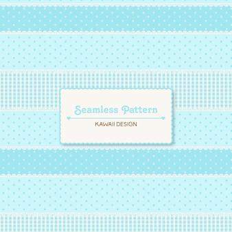 Lindo kawaii azul de patrones sin fisuras
