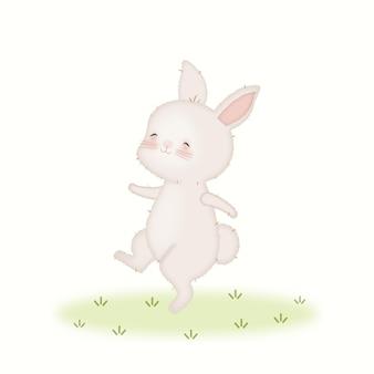 Lindo kawaii bebé conejo bailando ilustración