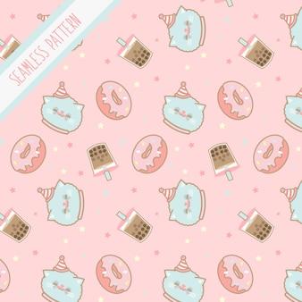 Lindo kawaii cumpleaños gatito de patrones sin fisuras
