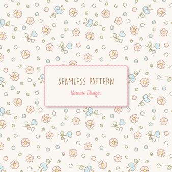 Lindo kawaii floral de patrones sin fisuras