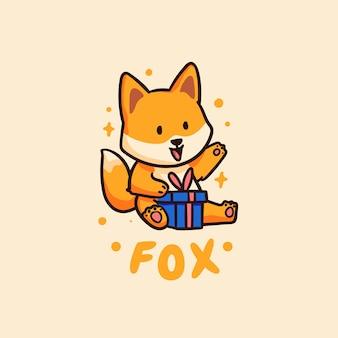 Lindo y kawaii happy fox recibiendo ilustración de regalo