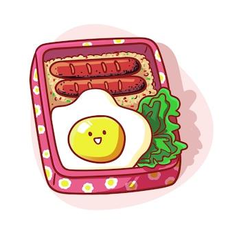 Lindo y kawaii lunch box menú arroz frito ilustración colorida