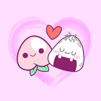 Lindo kawaii melocotón y onigiri enamorado