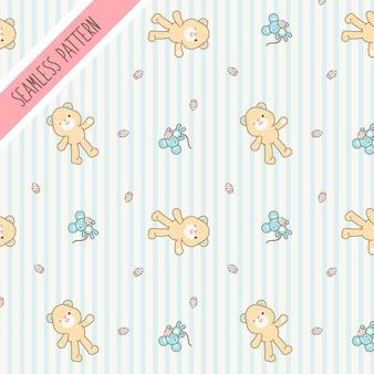 Lindo kawaii oso y ratón de patrones sin fisuras