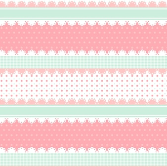 Lindo kawaii rosa y verde claro de patrones sin fisuras