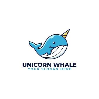 Lindo kawaii unicornio ballena juguetón mascota logo