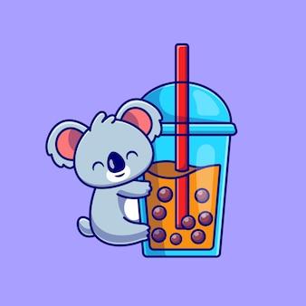 Lindo koala abrazo boba leche taza té ilustración dibujos animados