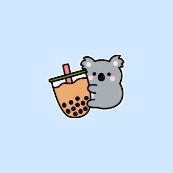 Lindo koala ama el vector de dibujos animados de té de burbujas