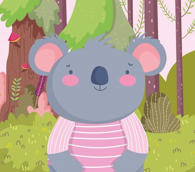 Lindo koala con camisa a rayas personaje de dibujos animados bosque follaje naturaleza