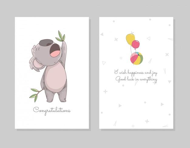 Lindo koala comiendo eucalipto. plantilla de cartel de doodle dibujado a mano con bolas de aire