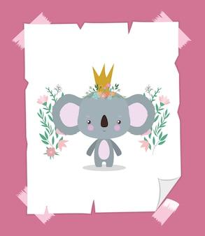 Lindo koala con corona