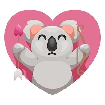 Lindo koala con dibujos animados de amor
