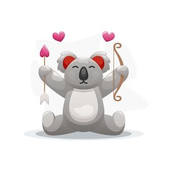 Lindo koala con dibujos animados de flecha y amor