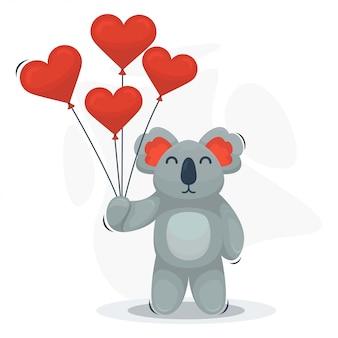 Lindo koala con dibujos animados de globos de amor