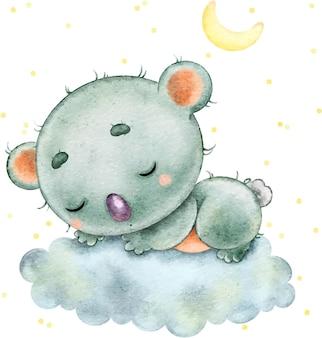 Lindo koala divertido durmiendo en una nube bajo las estrellas y la luna pintada en acuarela