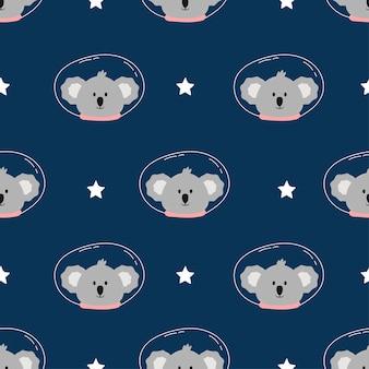 Lindo koala espacial en patrones sin fisuras