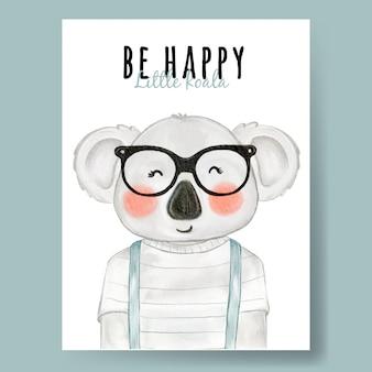 Lindo koala con gafas acuarela ilustración infantil