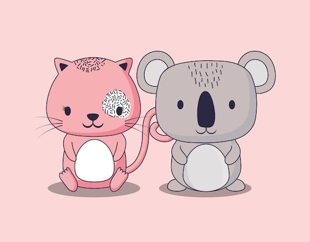 Lindo koala y gato