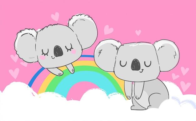 Un lindo koala gris está sentado en un arco iris. ilustración infantil