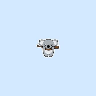 Lindo koala en un icono de dibujos animados de rama