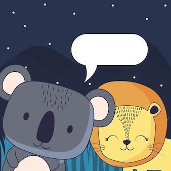 Lindo koala y león con globo de discurso