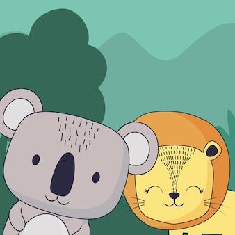 Lindo koala y león sobre fondo de paisaje forestal