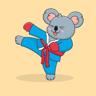 Lindo koala pateando