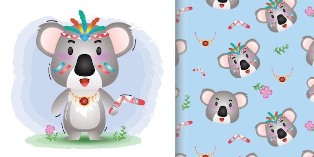 Lindo koala con patrones sin fisuras de trajes aborígenes y diseños de ilustración