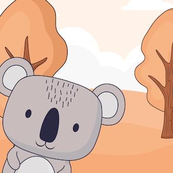 Lindo koala sobre fondo de paisaje de bosque