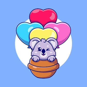 Lindo koala volando con dibujos animados de globos de amor