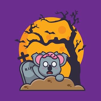 Lindo koala zombie se levanta del cementerio linda ilustración de vector de dibujos animados de halloween
