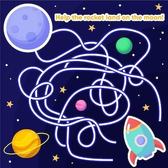 Lindo laberinto para niños con elementos espaciales.