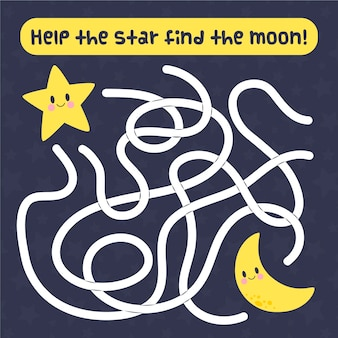 Lindo laberinto para niños con estrella y luna.