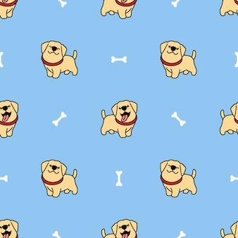 Lindo labrador retriever cachorro de dibujos animados de patrones sin fisuras