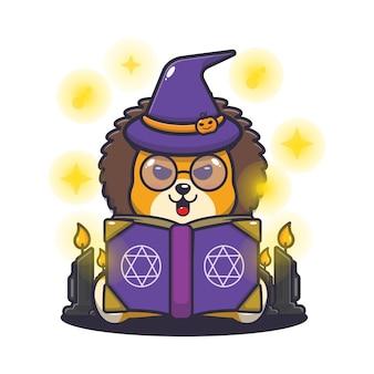 Lindo león bruja leyendo libro de hechizos linda ilustración de dibujos animados de halloween