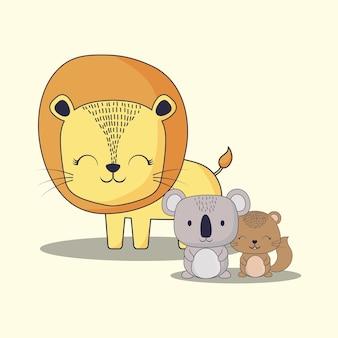 Lindo león con koala y ardilla