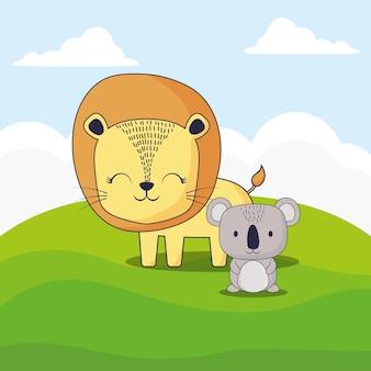 Lindo león y koala
