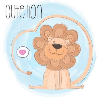 Lindo león mano dibujado animal ilustración-vector