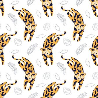 Lindo leopardo pone, dibujos animados vector de patrones sin fisuras para niños.