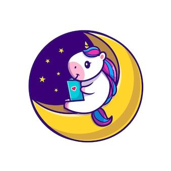 Lindo libro de lectura de unicornio en la ilustración de icono de dibujos animados de luna